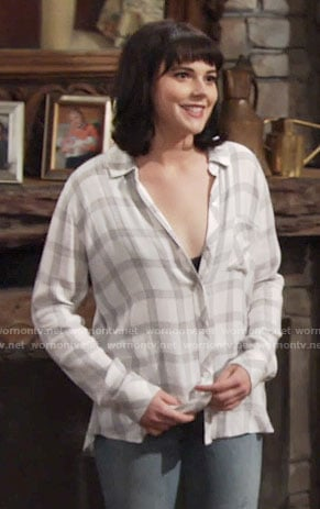 Tessa's white and grey checked shirt on The Young and the Restless