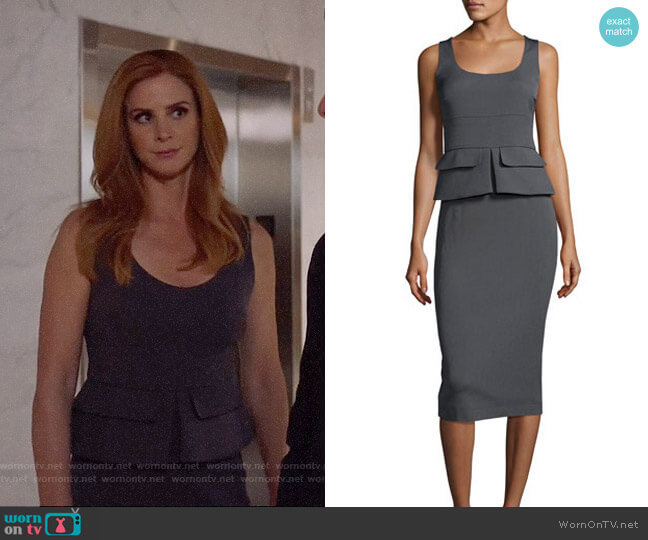 Tom Ford Sleeveless Peplum Sheath Midi Dress worn by Donna Paulsen (Sarah Rafferty) on Suits