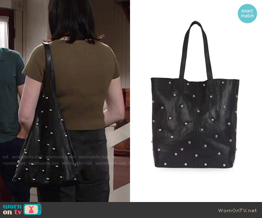 Topshop BOBBY Leather Studded Shopper Bag worn by Tessa Porter on The Young & the Restless