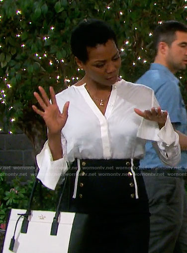 Valerie's button front skirt and white blouse on Days of our Lives