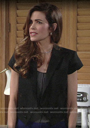 Victoria's black striped camisole on The Young and the Restless