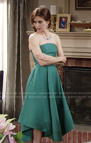 Victoria's green strapless midi dress on The Young and the Restless