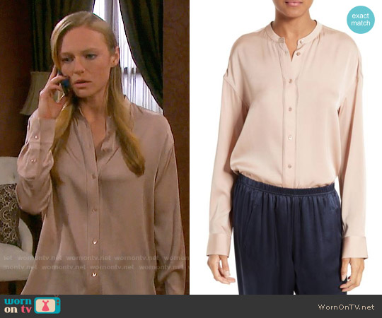 Vince Pintuck Placket Stretch Silk Blouse worn by Abigail Deveraux (Kate Mansi) on Days of our Lives