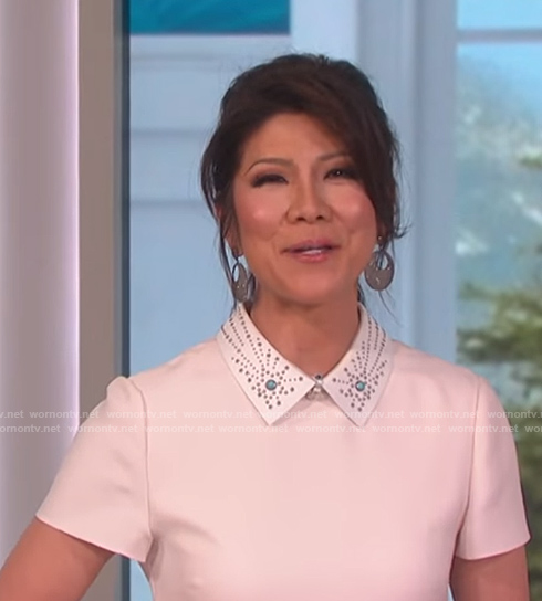 Julie's white a-line short sleeve dress with embellished collar on The Talk