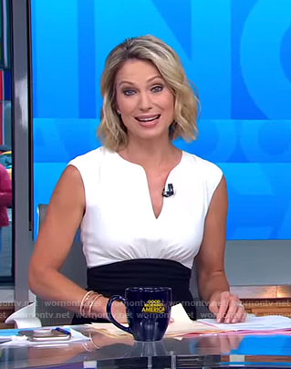 Amy's white and black color-block v-neck dress on Good Morning America