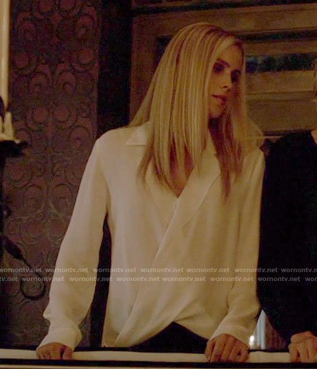 Rebekah's white draped blouse on The Originals
