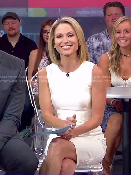 Amy's white cutout back dress on Good Morning America