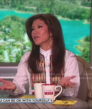 Julie's white embroidered shirt on The Talk