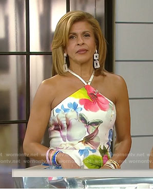 Hoda's white floral halter neck dress on Today