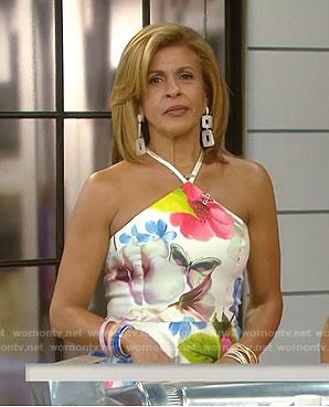 Hoda's white floral halter neck dress on Today