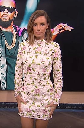 Catt's white floral mini dress with cutouts on E! News Daily Pop