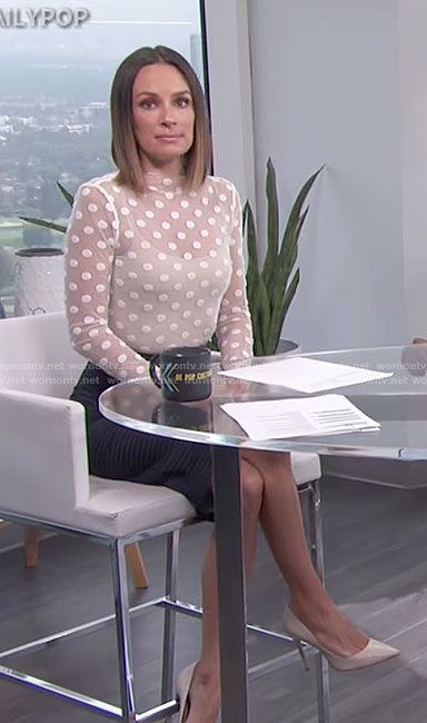 Catt's white polka dot top and striped lace-up skirt on E! News Daily Pop