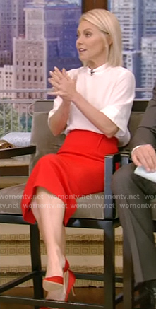 Kelly's white top and red pencil skirt on Live with Kelly and Ryan