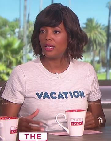 Aisha's white vacation tee on The Talk