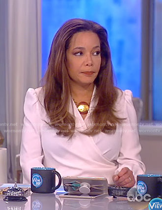 Sunny's white wrap blouse on The View