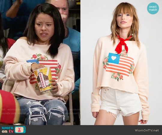 Wildfox Granny's Flag Monte Crop Pullover worn by Mariana Foster (Cierra Ramirez) on The Fosters