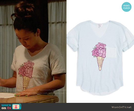 Wildfox Shore - Floral Flavored V-Neck Tunic worn by Mariana Foster (Cierra Ramirez) on The Fosters