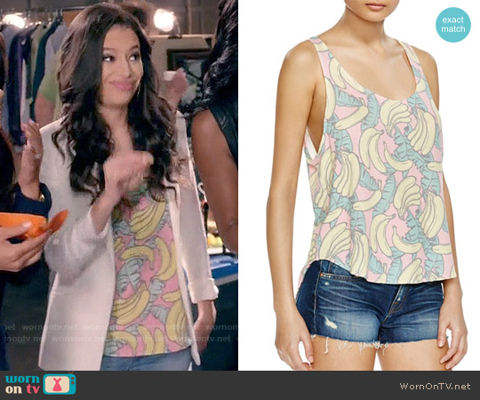 Wildfox Banana Print Tank worn by Kibby Ainsley (Chloe Bridges) on Daytime Divas