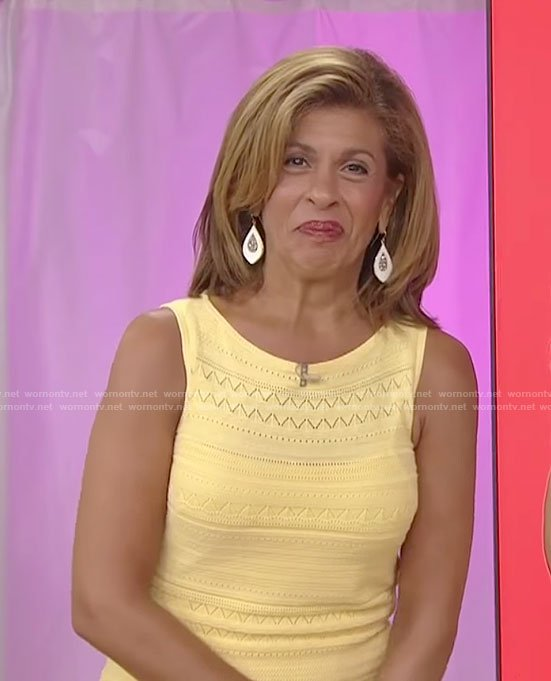 Hoda's yellow sleeveless knit dress on Today