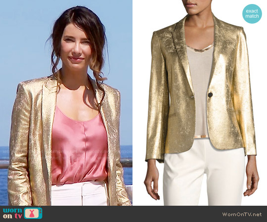 Zadig & Voltaire Vedy Deluxe Gold-Colored Fitted Blazer worn by Steffy Forrester on The Bold & the Beautiful