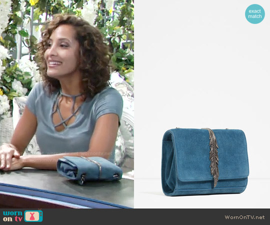 Zara Leather Crossbody Bag with Metal Detail worn by Christel Khalil on The Young & the Restless