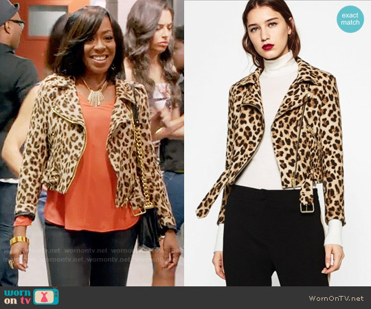 Zara Animal Print Biker Jacket worn by Mo Evans (Tichina Arnold) on Daytime Divas