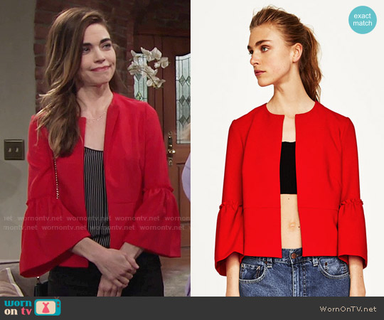 Zara Blazer with Bell Sleeves worn by Amelia Heinle on The Young & the Restless