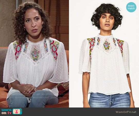 Zara Dotted Mesh Blouse with Floral Embroidery worn by Lily Winters (Christel Khalil) on The Young & the Restless