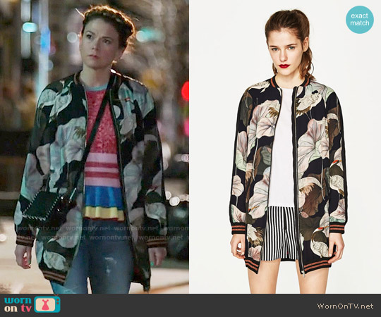 Oversized Printed Bomber Jacket worn by Sutton Foster on Younger