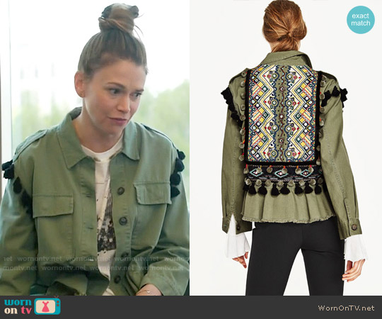Zara Parka with Embroidery and Pom Poms worn by Liza Miller (Sutton Foster) on Younger