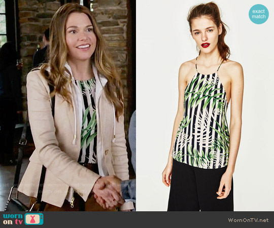 Zara Printed Leaves Top worn by Liza Miller on Younger