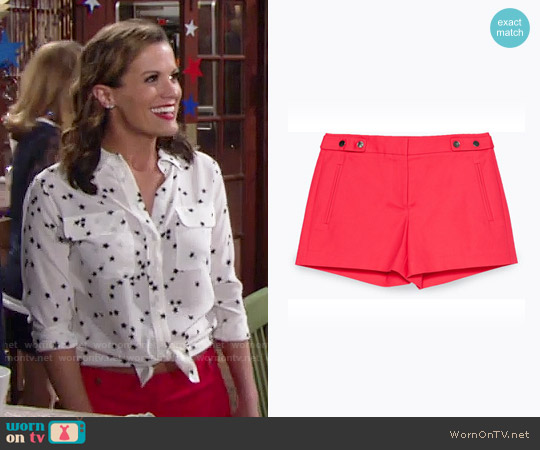 Zara Shorts With Press-Stud Waist worn by Chelsea Lawson (Melissa Claire Egan) on The Young & the Restless