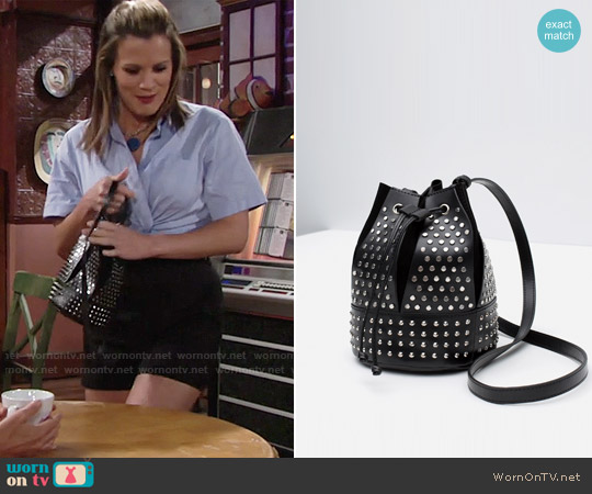 Zara Studded Bucket Bag worn by Chelsea Lawson on The Young & the Restless