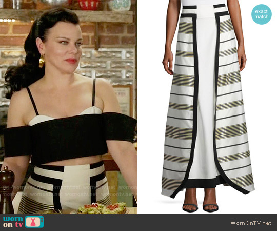 Zeus and Dione Graphic Metallic Stripe Maxi Skirt worn by Maggie on Younger