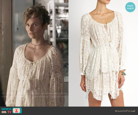 Zimmermann Gossamer floral-embroidered silk dress worn by Clare Bowen on Nashville
