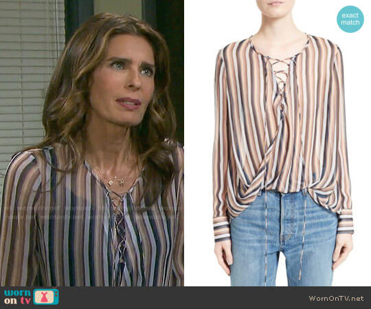 10 Crosby Derek Lam Stripe Silk Lace-Up Top worn by Kristian Alfonso on Days of our Lives