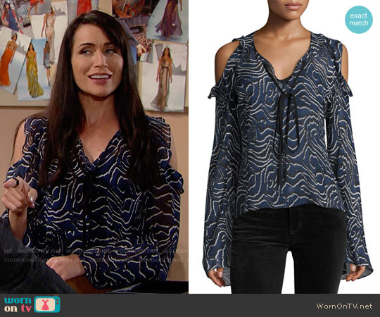 10 Crosby Derek Lam Ruffled Cold-Shoulder Chiffon Blouse worn by Rena Sofer on The Bold & the Beautiful