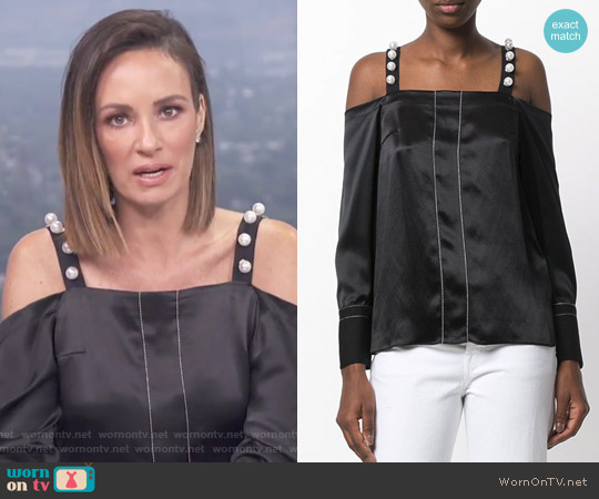 Embellished Cold-Shoulder Blouse by 3.1 Phillip Lim worn by Catt Sadler on E! News