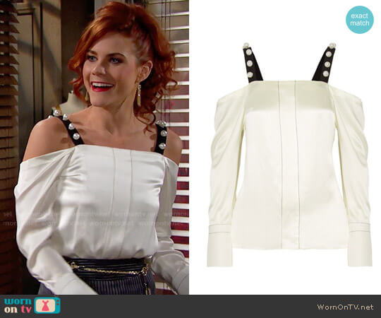 3.1 Phillip Lim Cold Shoulder Pearl Studded Top worn by Courtney Hope on The Bold & the Beautiful
