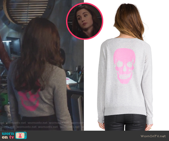 Skull Cashmere Luther Crew Neck Sweater by 360 Sweater worn by Allison Scagliotti on Stitchers