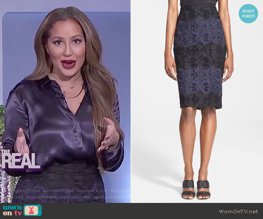 'Davin' Embroidered Silk Organza Skirt by A.L.C. worn by Adrienne Houghton on The Real