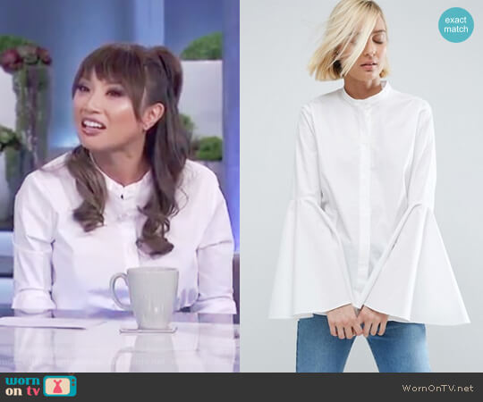 White Shirt with Bell Sleeve by ASOS worn by Jeannie Mai on The Real