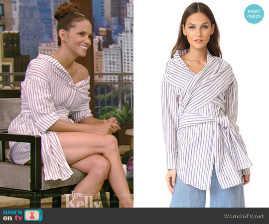 Marene Shirt by Acler worn by Halle Berry on Live with Kelly and Ryan