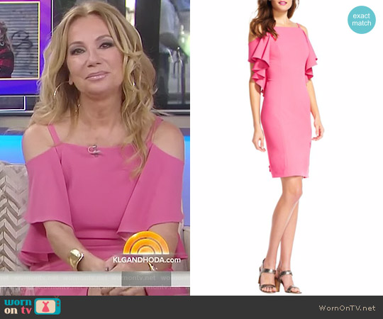 Cold-Shoulder Sheath Dress by Adrianna Papell worn by Kathie Lee Gifford on Today