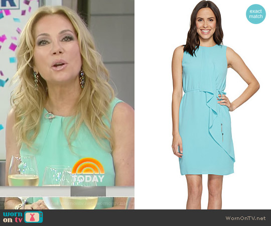 Gauzy Crepe Draped Front Dress by Adrianna Papell worn by Kathie Lee Gifford on Today
