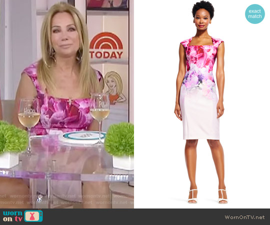 Ombre Watercolor Floral Print Dress with Cut Out Back by Adrianna Papell worn by Kathie Lee Gifford on Today