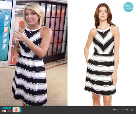 Stripe Halter Neck Dress by Adrianna Papell worn by Dylan Dreyer on Today