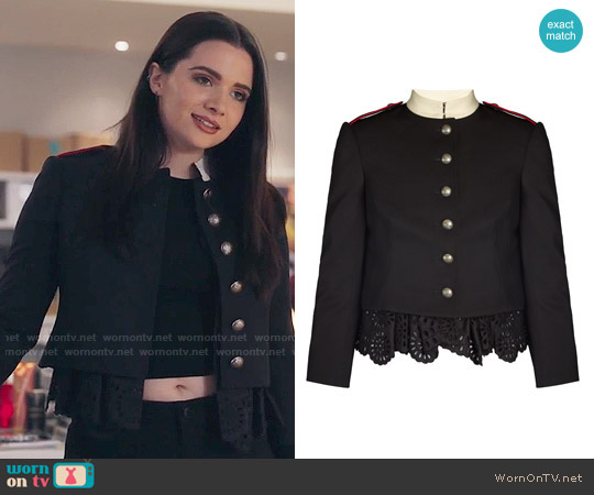 Alexander McQueen Ruffled-hem Military Jacket worn by Katie Stevens on The Bold Type