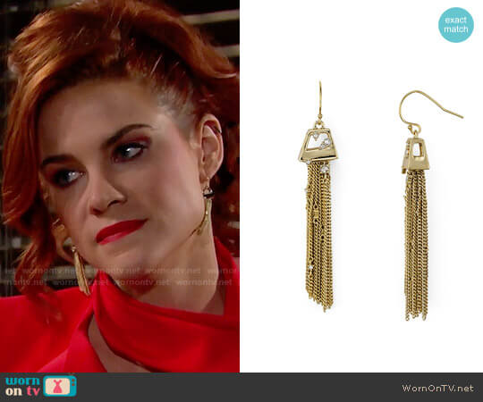 Alexis Bittar Chain Tassel Drop Earrings worn by Courtney Hope on The Bold & the Beautiful