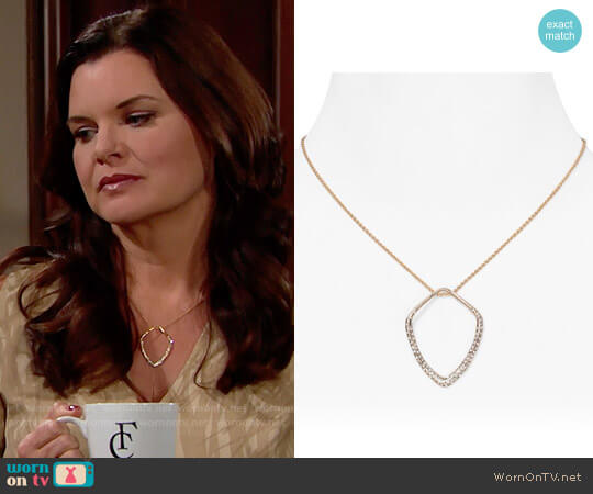 Alexis Bittar Miss Havisham Pave Kite Orbit Pendant Necklace worn by Katie Logan on The Bold & the Beautiful